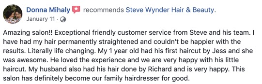 Donna Mihaly Recommends Steve Wynder Hair & Beauty